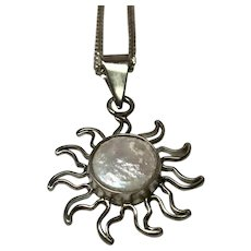 Sterling Silver Mother Of Pearl Sun Pendant/Necklace
