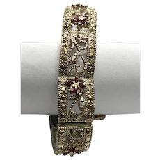 Sterling Silver Filigree Garnet & Marcasite Flower Bracelet