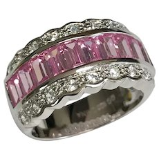 Sterling Silver Baguette Pink & White Glass Band