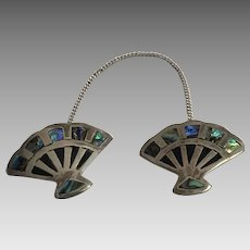 Vintage Sterling Silver, Abalone Fan Sweater Guard