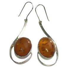Modernist Sterling Silver Baltic Amber Dangle Earrings