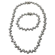 Vintage Sterling Silver 21.25 CTW Simulated Diamond Necklace & Matching Bracelet