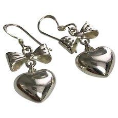 Sterling Silver Pierced Wire Heart & Bow Dangle Earrings