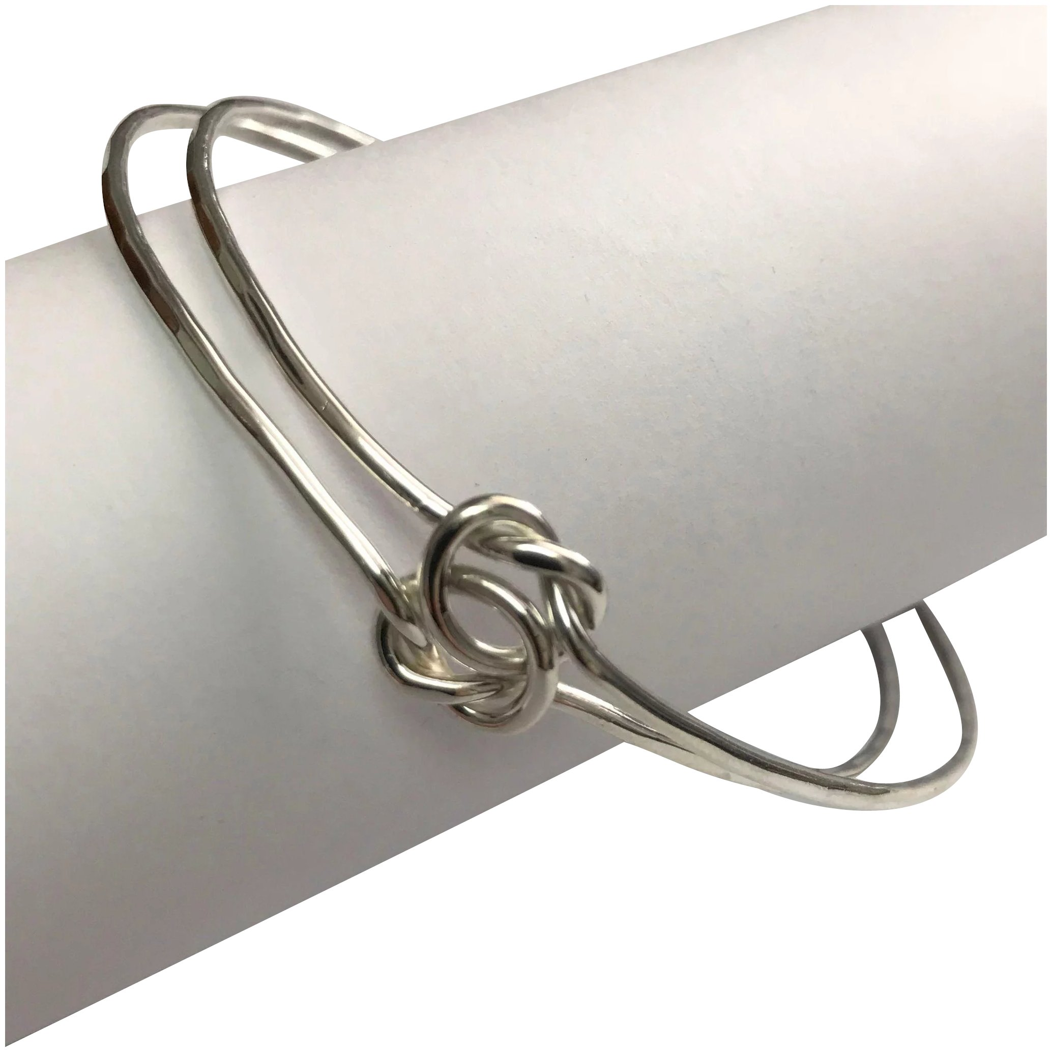 Sterling Silver Double Love Knot Bangle