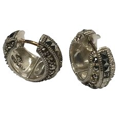 Vintage Judith Jack Sterling Silver Marcasite Wide Huggie Hoop Earrings