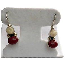 Mexico Sterling Silver Carnelian & Cream Agate Pierced Drop Earrings