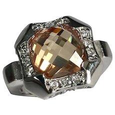 Sterling Silver 5.25 Carat Smoky Quartz & Simulated Diamond Ring.
