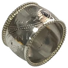 Sterling Silver Beaded Edge, Wide Etched Cigar Band