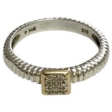 Vintage Sterling Silver / 14 K Yellow Gold Fashionable Diamond Ring