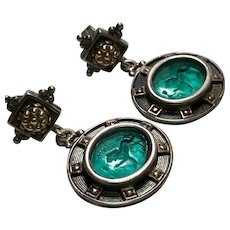 Vintage Tagliamonte, Sterling Silver/14K Yellow Gold, Green Venetian Glass, Pierced earrings