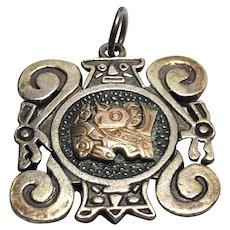 Peruvian Sterling Silver & 18 K Gold Pendant