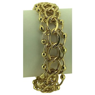 14k Yellow Gold Triple Link Charm Bracelet ~ Solid