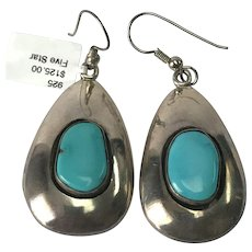 Sterling Silver Native American Kings man Turquoise Dangle Earrings