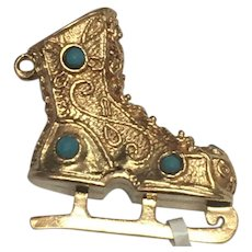 14 K Yellow Gold Persian Turquoise Ice Skate Charm/ Pendant