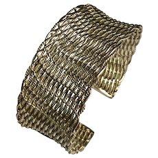 Vintage Wide Woven Sterling Silver Cuff Bracelet ~ 51.0 grams