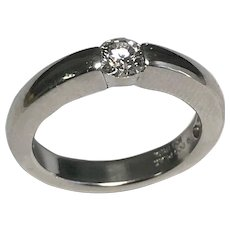 Platinum 0.33 Round Bezel Set Diamond Ring, Comes With EGL
