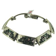 Sterling Silver Mexico Inlaid Abalone Link Bracelet
