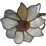 Vintage Sterling Silver Inlaid Mother Of Pearl Flower Cuff