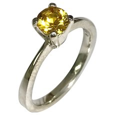 Sterling Silver 0.70 Carat Round Solitaire Citrine Ring