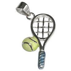 Sterling Silver Tennis Racket and Ball Charm