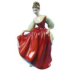 "Royal Doulton ""Fair Lady"" Figurine HN2832 Red Dress   Free Shipping"