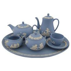 Wedgwood Jasper Miniature Tea Coffee Set Blue Jasperware