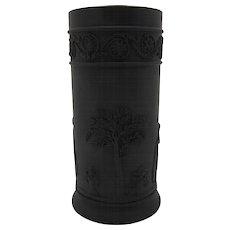 19th Century Wedgwood Jasper Black Basalt Jasperware Spill Vase 1890s Free Shipping
