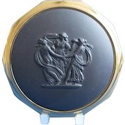 Vintage Stratton Wedgwood Compact Black Basalt Jasper  Gift Boxed  Free Shipping