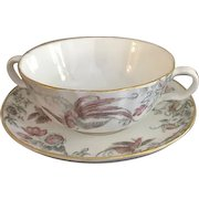 Vintage Royal Worcester Double-Handled Soup Bowl With Saucer