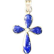 Lapis and Silver Cross Pendant