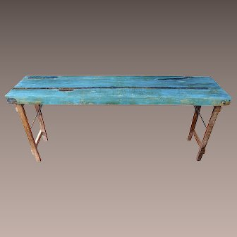 Antique Northern European Rustic Primitive Workbench Table, mid 19th Century