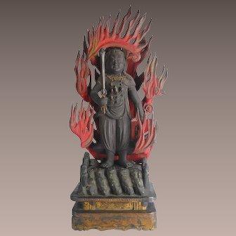 Antique Japanese Buddhist Deity Fudo Myo-o/Acala from Edo Period, 18th/19th Century