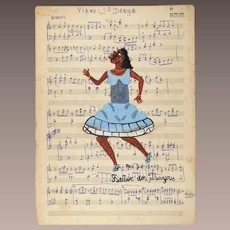 Original Heitor Dos Prazeres Brazilian Painting on music sheet signed dated Rio 1960