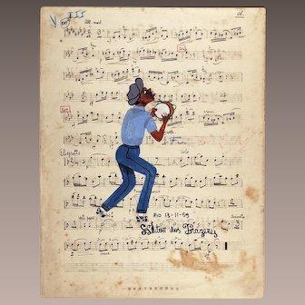 Original Heitor Dos Prazeres Brazilian Painting on music sheet signed dated Rio 1959