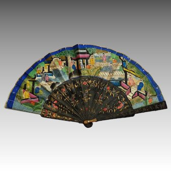 Antique Hand Painted Lacquer and Woodsticks Japanese Fan