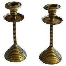 19th C Victorian English Brass Candlesticks