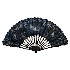 19th C French Black Lace Satin Wood Hand Painted Fan