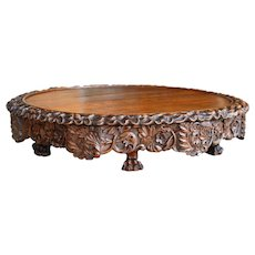 19th C. English Carved Oak Lazy Susan with Revolving Top and Scalloped Edge, Circa 1870