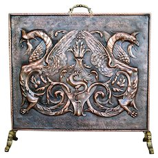 Early 19th C Tuscan Embossed Fire Screen