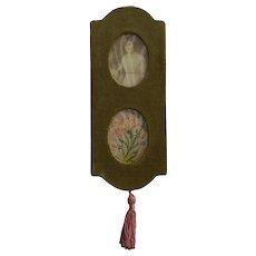 1900s Victorian  Velvet Hanging Photo Frame