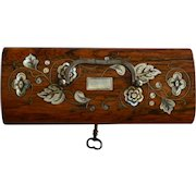 19th C French Palisandre Sewing Box with MOP Inlay