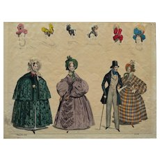 Early 19th C Colour Fashion Print signed Moden Z No.46,  1834