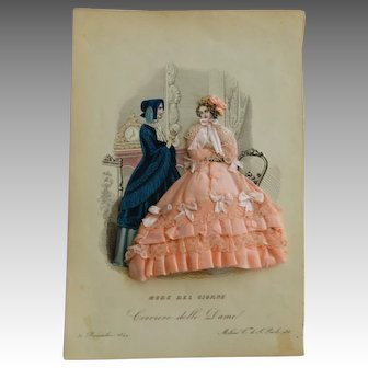 Original 1849 Fashion Print with Hand Made Fabric Costume done by Couture Apprentices, Milan 1849