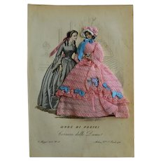 Original 1854 Fashion Print with Hand Made Fabric Costume done by Couture Apprentices, Milan 1854