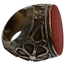 Vintage Silver & Carnelian Ring, Persia, 1900s