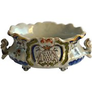 Antique French Faience Desvres  Jardiniere circa 1885, signed