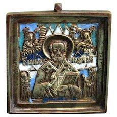 Metal Russian Icon of St.Nicholas