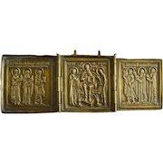 19th C Bronze Metal Russian Triptych Icon