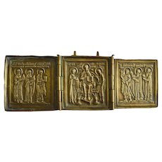 19th C Bronze Metal Russian Triptych Icon
