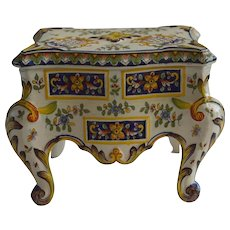 19Th C. Desvres Faience Vanity Box and Lid